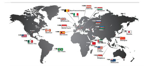 la carte des grands prix de formule 1